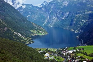 No cruise liners in Geiranger sea port, Norway, no emission